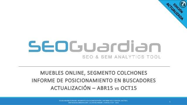 MUEBLES ONLINE, SEGMENTO COLCHONES INFORME DE POSICIONAMIENTO EN BUSCADORES ACTUALIZACIÓN – ABR15 VS OCT15 1 ES156-MUEBLES...