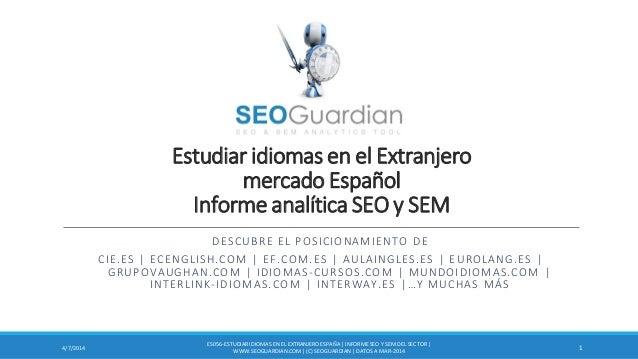 Estudiar idiomas en el Extranjero mercado Español Informe analítica SEO y SEM DESCUBRE EL POSICIONAMIENTO DE CIE.ES | ECEN...