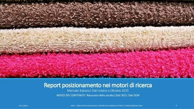 SEOGuardian - Report posizionamento nei motori di ricerca - Tessuti per la casa Slide 2