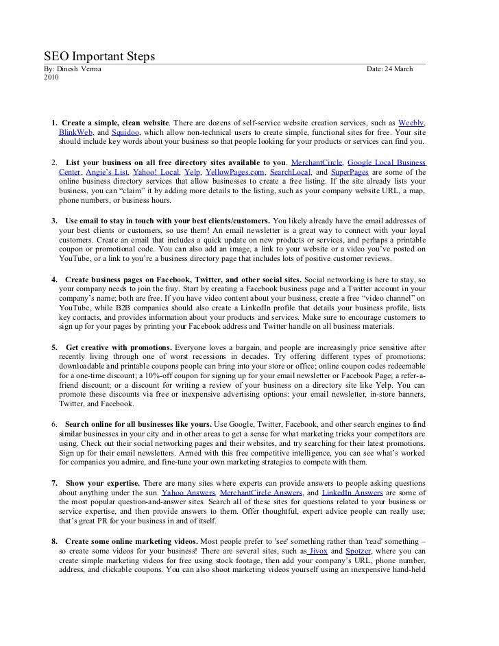 SEO Important StepsBy: Dinesh Verma                                                                                     Da...
