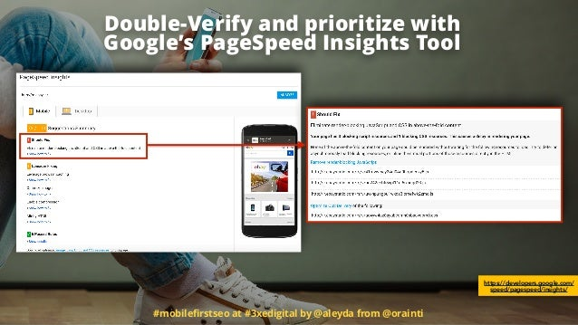 #mobilefirstseo at #3xedigital by @aleyda from @orainti Double-Verify and prioritize with 
