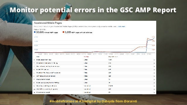 #mobilefirstseo at #3xedigital by @aleyda from @orainti Monitor potential errors in the GSC AMP Report