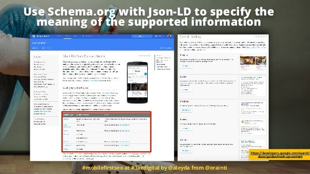 #mobilefirstseo at #3xedigital by @aleyda from @orainti Use Schema.org with Json-LD to specify the meaning of the supported...