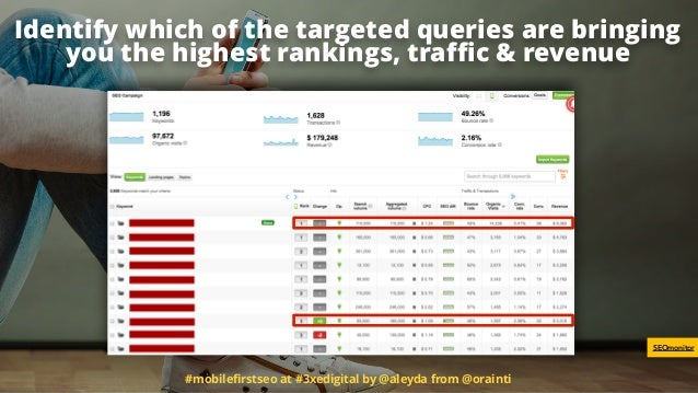 Identify which of the targeted queries are bringing you the highest rankings, traffic & revenue #mobilefirstseo at #3xedigita...