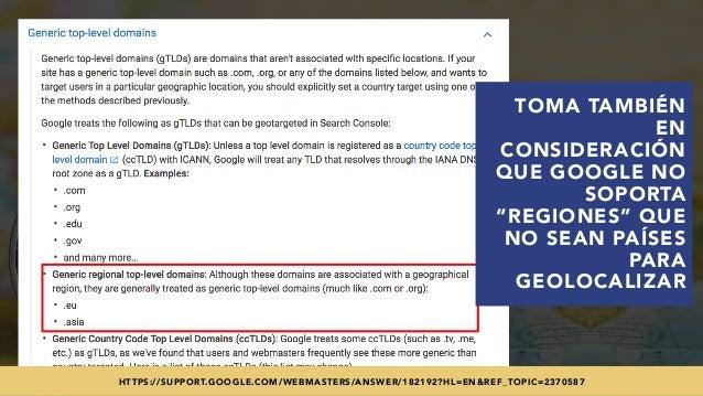 """#SEOINTERNACIONAL POR @ALEYDA DE #ORAINTI EN #INDUSMEDIA2018 TOMA TAMBIÉN EN CONSIDERACIÓN QUE GOOGLE NO SOPORTA """"REGIONES..."""