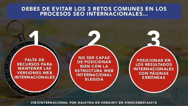 #SEOINTERNACIONAL POR @ALEYDA DE #ORAINTI EN #INDUSMEDIA2018 DEBES DE EVITAR LOS 3 RETOS COMUNES EN LOS PROCESOS SEO INTER...