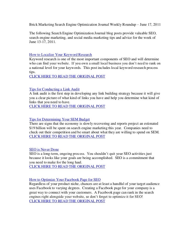 Brick Marketing Search Engine Optimization Journal Weekly Roundup – June 17, 2011<br />The following Search Engine Optimiz...
