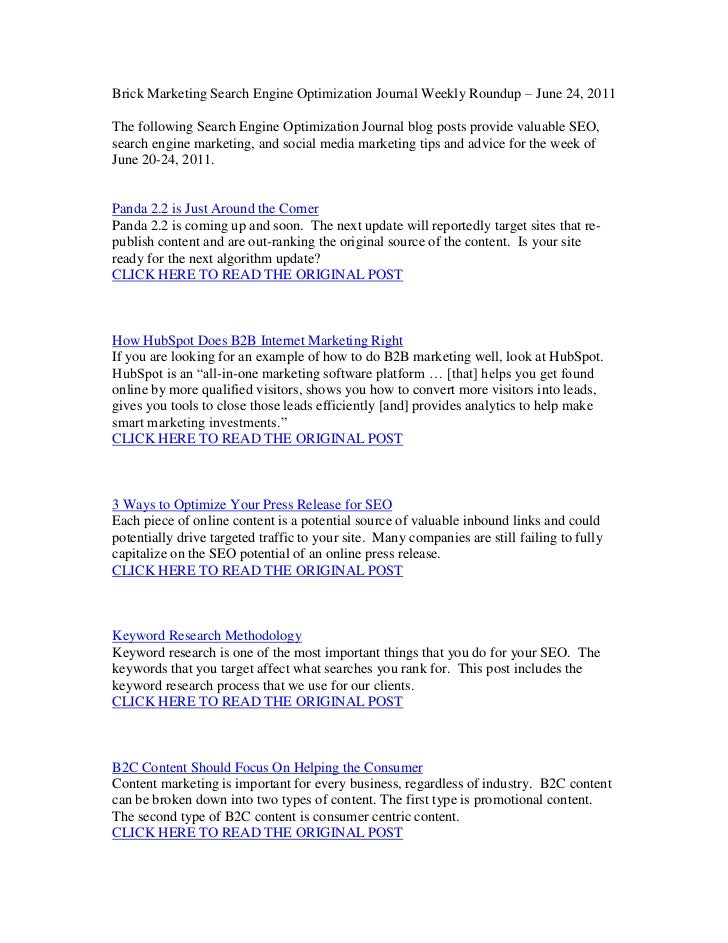 Brick Marketing Search Engine Optimization Journal Weekly Roundup – June 24, 2011<br />The following Search Engine Optimiz...