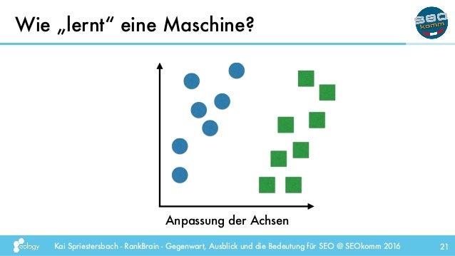 """Kai Spriestersbach - RankBrain - Gegenwart, Ausblick und die Bedeutung für SEO @ SEOkomm 2016 Wie """"lernt"""" eine Maschine? 2..."""