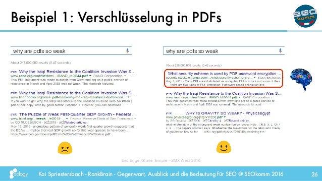 Kai Spriestersbach - RankBrain - Gegenwart, Ausblick und die Bedeutung für SEO @ SEOkomm 2016 Beispiel 1: Verschlüsselung ...