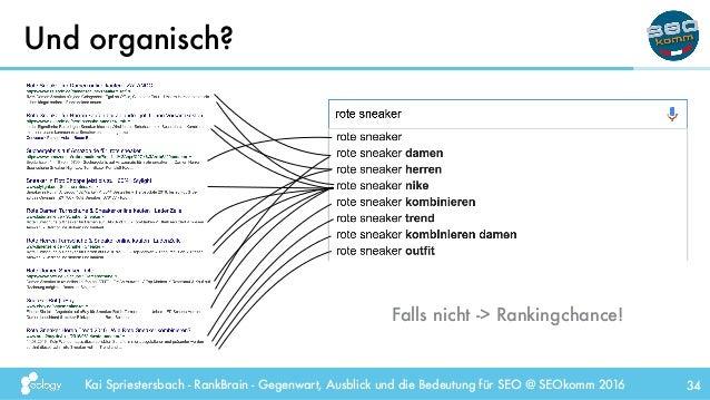 Kai Spriestersbach - RankBrain - Gegenwart, Ausblick und die Bedeutung für SEO @ SEOkomm 2016 Und organisch? 34 Falls nich...