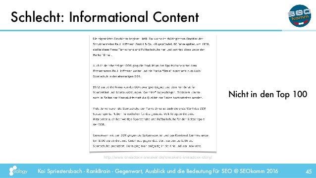 Kai Spriestersbach - RankBrain - Gegenwart, Ausblick und die Bedeutung für SEO @ SEOkomm 2016 Schlecht: Informational Cont...