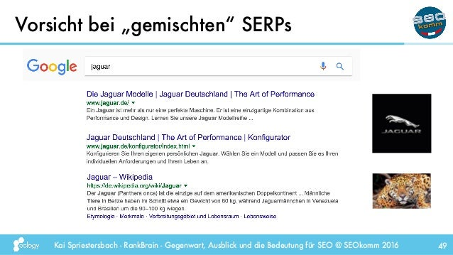 """Kai Spriestersbach - RankBrain - Gegenwart, Ausblick und die Bedeutung für SEO @ SEOkomm 2016 Vorsicht bei """"gemischten"""" SE..."""