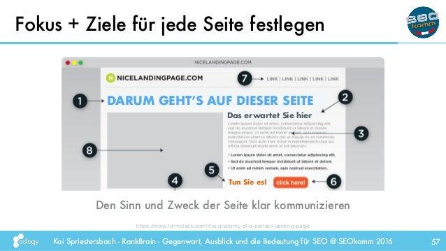 Kai Spriestersbach - RankBrain - Gegenwart, Ausblick und die Bedeutung für SEO @ SEOkomm 2016 Fokus + Ziele für jede Seite...