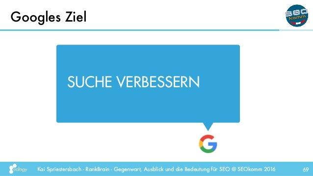 Kai Spriestersbach - RankBrain - Gegenwart, Ausblick und die Bedeutung für SEO @ SEOkomm 2016 Googles Ziel 69 SUCHE VERBES...