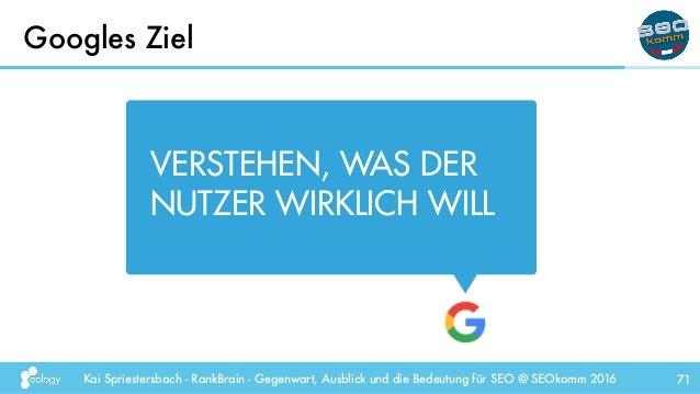 Kai Spriestersbach - RankBrain - Gegenwart, Ausblick und die Bedeutung für SEO @ SEOkomm 2016 Googles Ziel 71 VERSTEHEN, W...