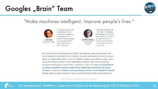 """Kai Spriestersbach - RankBrain - Gegenwart, Ausblick und die Bedeutung für SEO @ SEOkomm 2016 Googles """"Brain"""" Team 74 http..."""