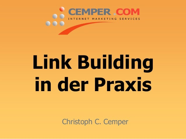 Link Building in der Praxis Christoph C. Cemper