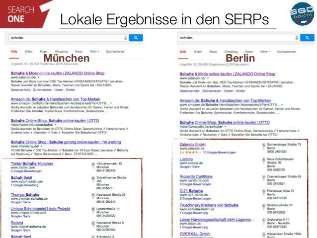 Lokale Ergebnisse in den SERPs  München Berlin