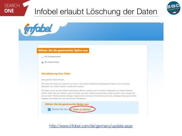 Infobel erlaubt Löschung der Daten  http://www.infobel.com/de/germany/update.aspx