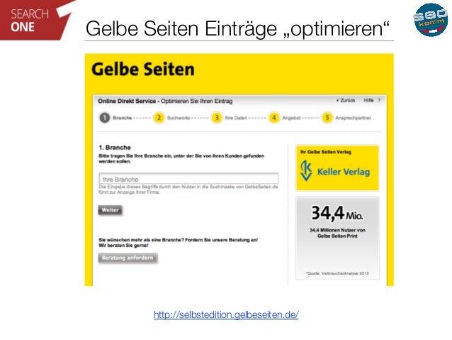 """Gelbe Seiten Einträge """"optimieren""""  http://selbstedition.gelbeseiten.de/"""