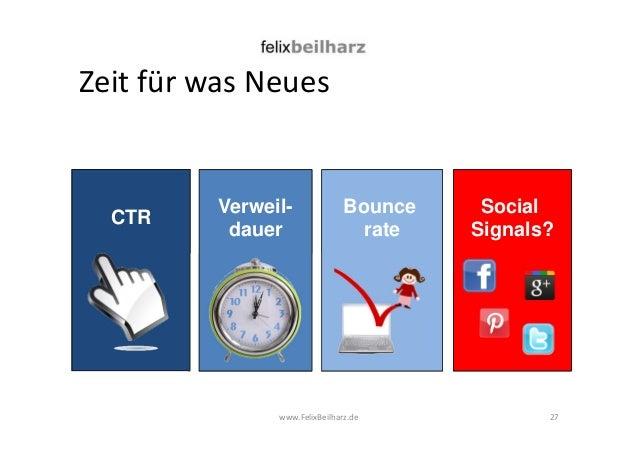 Zeit für was Neues  www.FelixBeilharz.de  27  CTR Verweil-dauer  Bounce  rate  Social  Signals?