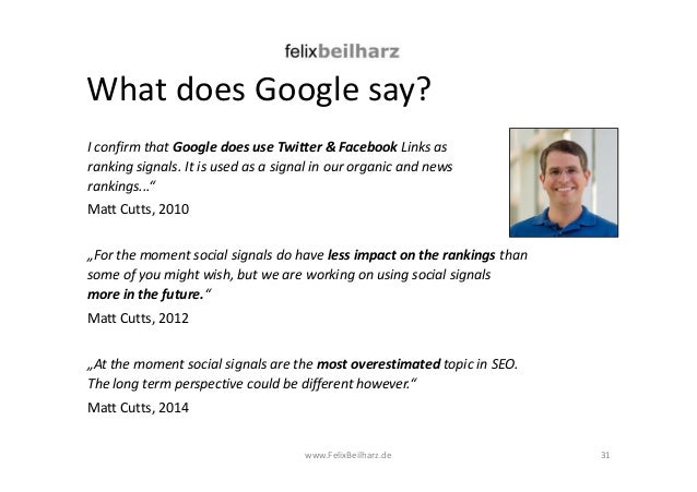 What does Google say?  I confirm that Google does use Twitter & Facebook Links as  ranking signals. It is used as a signal...