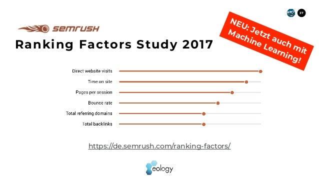 37 Ranking Factors Study 2017 https://de.semrush.com/ranking-factors/ NEU: Jetzt auch mit  Machine Learning!