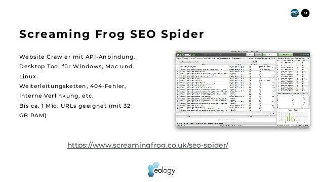 Website Crawler mit API-Anbindung. Desktop Tool für Windows, Mac und Linux. Weiterleitungsketten, 404-Fehler, Interne Verl...