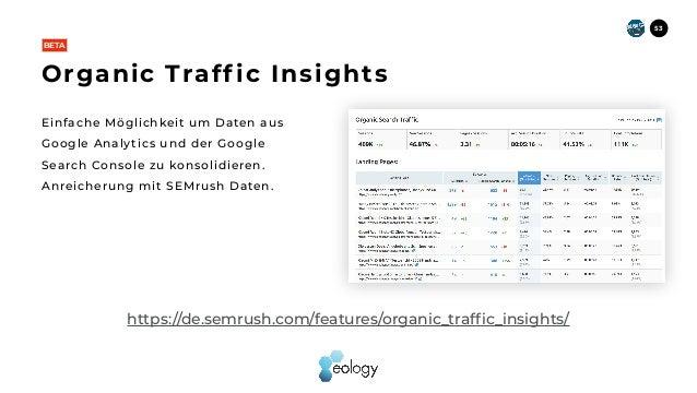 Einfache Möglichkeit um Daten aus Google Analytics und der Google Search Console zu konsolidieren. Anreicherung mit SEMrus...