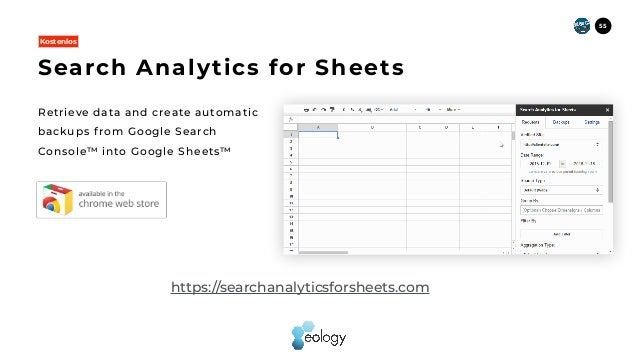 Retrieve data and create automatic backups f rom Google Search Console™ into Google Sheets™ Search Analytics for Sheets Ko...