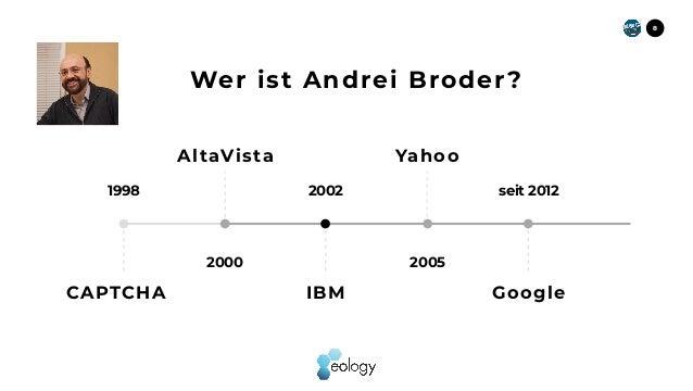Wer ist Andrei Broder? 1998 2000 2002 2005 seit 2012 CAPTCHA 8 AltaVista IBM Yahoo Google