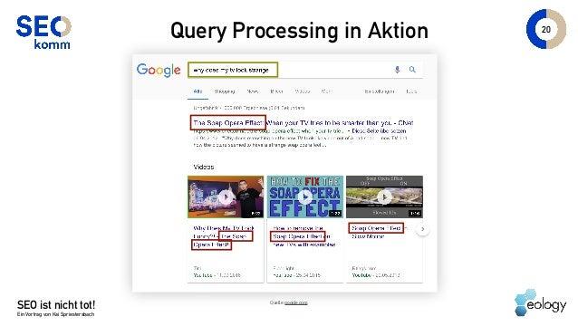 SEO ist nicht tot! Ein Vortrag von Kai Spriestersbach 20 Query Processing in Aktion Quelle: google.com