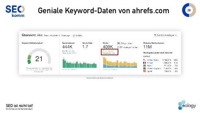 SEO ist nicht tot! Ein Vortrag von Kai Spriestersbach 28 Geniale Keyword-Daten von ahrefs.com https://ahrefs.com/keywords-...