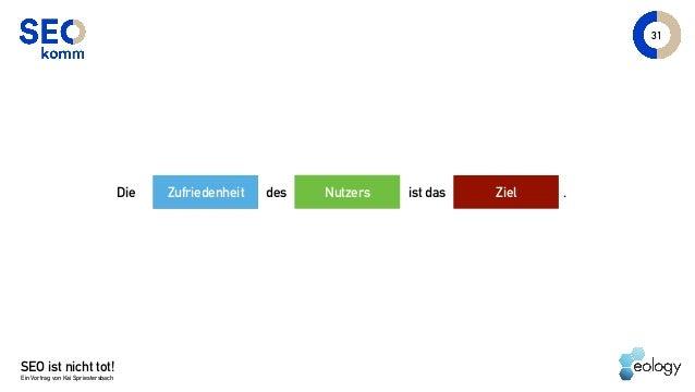 SEO ist nicht tot! Ein Vortrag von Kai Spriestersbach 31 NutzersDie ist das ZielZufriedenheit des .