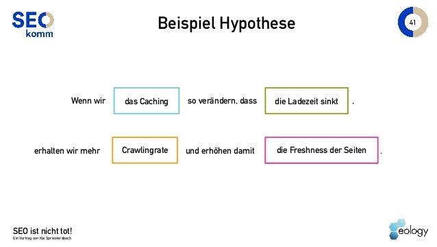 SEO ist nicht tot! Ein Vortrag von Kai Spriestersbach 41 Beispiel Hypothese die Ladezeit sinktWenn wir so verändern, dass ...