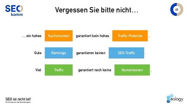 45 Vergessen Sie bitte nicht… SEO ist nicht tot! Ein Vortrag von Kai Spriestersbach Traffic-Potential… ein hohes garantier...