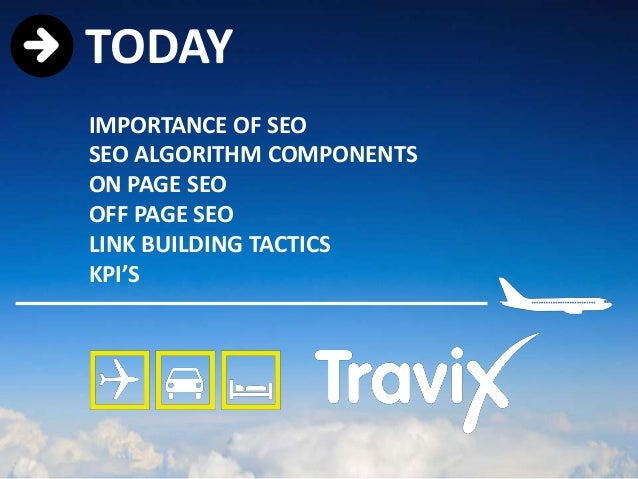 TODAYIMPORTANCE OF SEOSEO ALGORITHM COMPONENTSON PAGE SEOOFF PAGE SEOLINK BUILDING TACTICSKPI'S