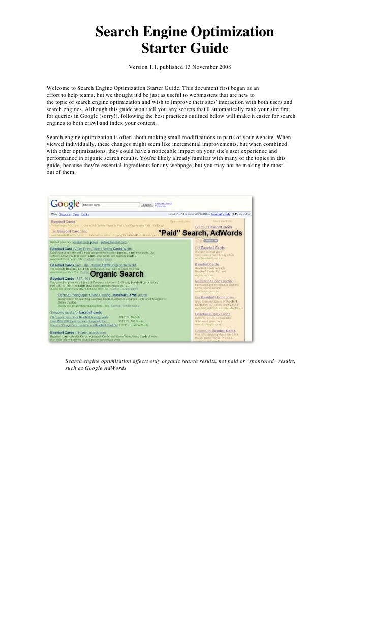 Search Engine Optimization<br />Starter Guide<br />Version 1.1, published 13 November 2008<br />Welcome to Search Engine O...
