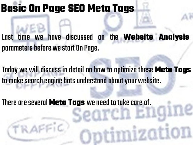 Online Marketing with Basic On Page SEO Meta Tags
