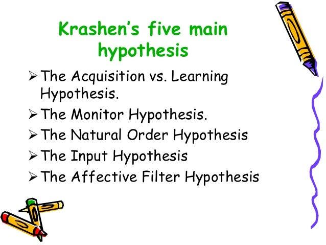 Krashen's five main hypothesis The Acquisition vs. Learning Hypothesis. The Monitor Hypothesis. The Natural Order Hypot...