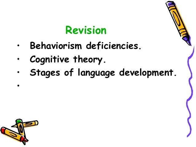 Revision • Behaviorism deficiencies. • Cognitive theory. • Stages of language development. •