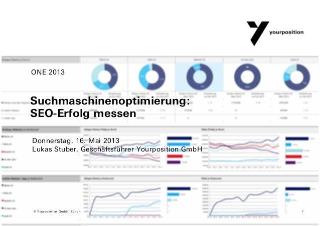 Suchmaschinenoptimierung:SEO-Erfolg messenDonnerstag, 16. Mai 2013Lukas Stuber, Geschäftsführer Yourposition GmbHONE 20131...