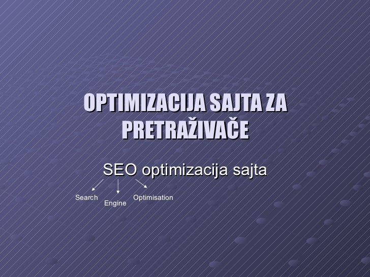 OPTIMIZACIJA SAJTA ZA PRETRAŽIVAČE SEO optimizacija sajta Search Engine Optimisation