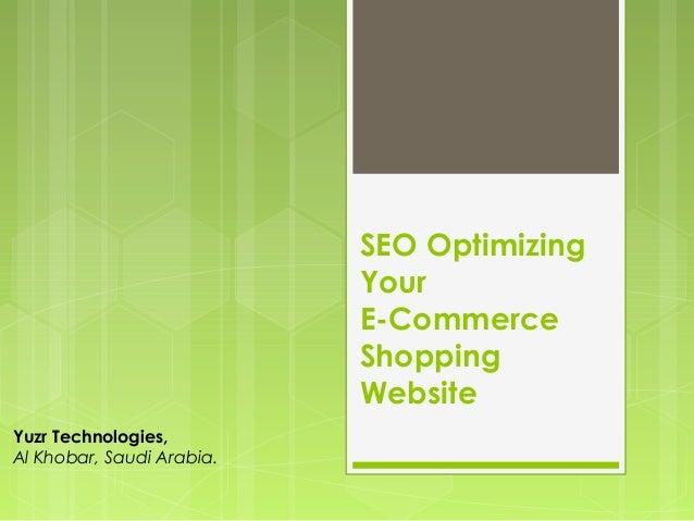 SEO Optimizing                           Your                           E-Commerce                           Shopping     ...