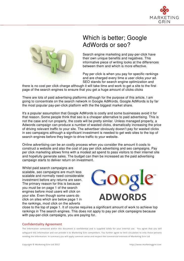 Article Comparing Seo And Google Adwords