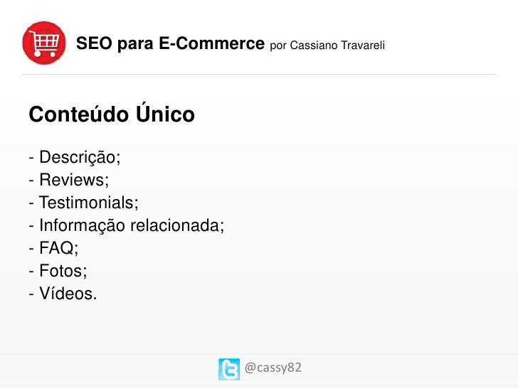 SEO para E-Commerce - Cassiano Travareli Slide 3