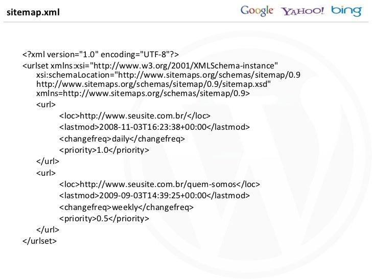 sitemap.xml <ul><li><?xml version=&quot;1.0&quot; encoding=&quot;UTF-8&quot;?> </li></ul><ul><li><urlset xmlns:xsi=&quot;h...