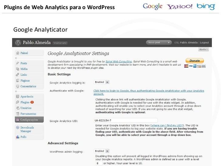 Plugins de Web Analytics para o WordPress Google Analyticator