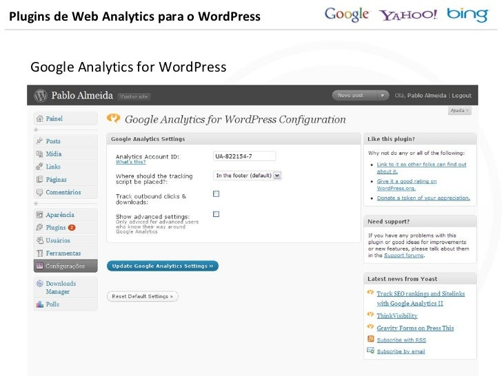 Plugins de Web Analytics para o WordPress Google Analytics for WordPress